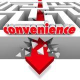 Convenience Word Arrow Breaks Through Maze Walls. Convenience word in 3d letters and an arrow breaking through walls to symbolize fast, efficient service vector illustration