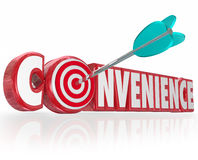 Convenience Word Red 3d Letters Arrow Target Bulls-Eye. Convenience word in red 3d letters and an arrow hitting a target in the O royalty free illustration