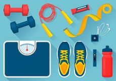Convenient Equipment for Fitness Illustrations Set. Convenient equipment for fitness vector illustrations set. Comfortable sneakers, tools for exercises, floor Royalty Free Stock Photos