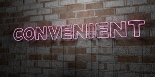 CONVENIENT - Glowing Neon Sign on stonework wall - 3D rendered royalty free stock illustration. Can be used for online banner ads and direct mailers Stock Photo
