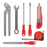Convenient metal tools for repairement and building set. Convenient metal tools for repairement and building. Thin screwdrivers, heavy wrenches, sharp stationery Royalty Free Stock Image
