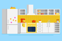 Convenient modern kitchen flat vector design illustration. With fridge, freezer, stove, cooker hood, pot, mixer, drawers, cupboard, glasses and other kitchen Stock Photo