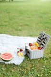 Convenient organizer for food, fruits and watermelon on plaid and grass. Convenient nice organizer for food, fruits and watermelon on plaid and grass. Concept royalty free stock photo