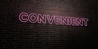 CONVENIENT -Realistic Neon Sign on Brick Wall background - 3D rendered royalty free stock image. Can be used for online banner ads and direct mailers Stock Images