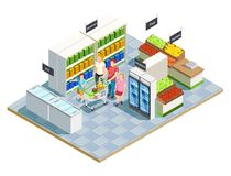 Convenient Shop Family Composition. Family shopping isometric composition of convenient store interior parents and kids human characters with grocery cart vector Stock Images