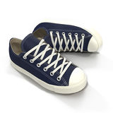 Convenient for sports mens sneakers. Presented on a white. 3D illustration. Convenient for sports mens blue sneakers. Presented on a white background. 3D Stock Photography