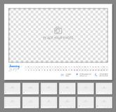Convenient wall calendar 2019 year. Monthly, flat. Suitable planner with big copyspace and little parts on every month. Vector illustration Stock Photo