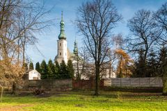 Convent buildings in Radomsko city in central Poland. Church and Monastery of the Franciscan Fathers in Radomsko, Poland Royalty Free Stock Photo