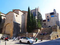 Convent de Sant Domènec, Girona. Convent de Sant Domènec situated near the university, at old city center of Girona. SEveral university students are Stock Image
