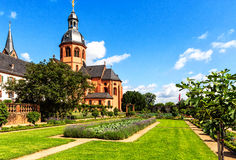 Convent Garden and Basilica in Seligenstadt on the Banks of the River Main,   Germany Stock Image