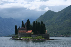 Convent of the Madonna. Abbey and cemetery in small island near Perast Royalty Free Stock Images