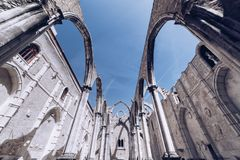 The Convent of Our Lady of Mount Carmel in Lisbon, Portugal. The medieval convent was ruined during the earthquake. stock photography