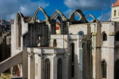 Convent of Our Lady of Mount Carmel ruins. Convento da Ordem do Carmo. Lisbon, Portugal Royalty Free Stock Photos