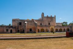 Convent of San Bernardino de Siena. Valladolid, Yucatan, Mexico. Convent of San Bernardino de Siena on a sunny day in Valladolid, Yucatan, Mexico Stock Photos
