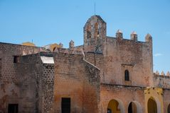 Convent of San Bernardino de Siena. Valladolid, Yucatan, Mexico. Convent of San Bernardino de Siena on a sunny day in Valladolid, Yucatan, Mexico Royalty Free Stock Images