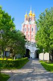 Transfiguration of Jesus gate church located over the main entrance of the Novodevichy Convent, Moscow, Russia. Stock Photography