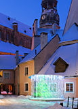 Convent yard in medieval city of Riga Royalty Free Stock Photo