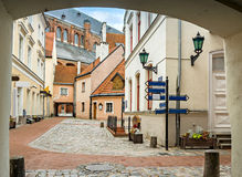 Convent yard in old city of Riga. Riga is the capital and largest city of Latvia, a major commercial, cultural, historical and financial center of the Baltic Royalty Free Stock Photo