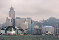 Convention Center and Central Plaza tower skyline Hong Kong Island, China. Hong Kong Island, China - May 12, 2010: Partial skyline with Convention Center and royalty free stock photography