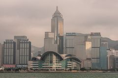 Convention Center and Central Plaza tower skyline Hong Kong Island, China. Hong Kong Island, China - May 12, 2010: Partial skyline with Convention Center and stock photography