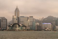 Convention Center and Central Plaza tower skyline Hong Kong Island, China. Hong Kong Island, China - May 12, 2010: Partial skyline with Convention Center and royalty free stock photo