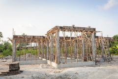 Conventional building construction house site. Stock Photo