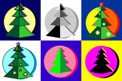 Conventional and Christmas trees. Set of trees. Conventional and Christmas trees Royalty Free Stock Photos