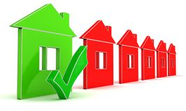 Conventional homes and energy efficient home. Stock Photo