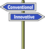 Conventional - Innovative street sign blue royalty free illustration