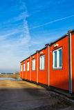 Conventional shipping containers housing stock photo