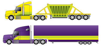 Conventional trucks with reefer and dump. Trailers Royalty Free Stock Images