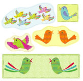 Conventionalized birds. Conventionalized bright birds in the bright frames Stock Image