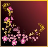 Conventionalized butterflies and pink flowers Stock Photo