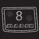 Conventionalized design for 8 March made in style of chalky sketch on the black board. Stock Photography