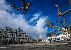 Convento de Nossa Senhora da Esperança. And an old town square in Ponta Delgada, Sao Miguel Island, Azores, Portugal stock photos