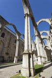 Convento do Carmo in Lisbon. The central nave of the Convento do Carmo in Lisbon. This large cathedral built by the Carmelite order and was destroyed during the Stock Photography
