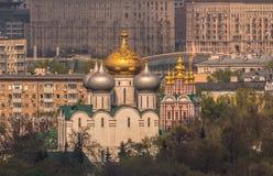 Convento ortodosso di Novodevichy a Mosca su un fondo delle case della città sotto il sole di estate Fotografia Stock