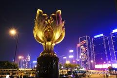 Convenzione di Hong Kong e centro di mostra nella notte Immagini Stock Libere da Diritti