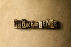 CONVERGENCE - close-up of grungy vintage typeset word on metal backdrop Stock Image
