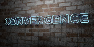 CONVERGENCE - Glowing Neon Sign on stonework wall - 3D rendered royalty free stock illustration. Can be used for online banner ads and direct mailers Stock Photography