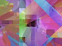 Convergence Multicolored Intense 2. This geometric abstract background in variations of color has a strong spatial and optical appeal Royalty Free Stock Images