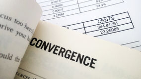Convergence word on book Royalty Free Stock Photo