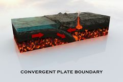 Convergent Plate boundary in high definition. Made by a focused study on materials and processes so it can be use in academic and professional ways Stock Image