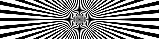 Convergerende lijnen, starburst, zonnestraalachtergrond in breed formaat stock illustratie