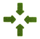 Converging arrows symbol from grass Stock Photo