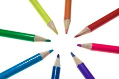 Converging Coloured Pencils Royalty Free Stock Photography