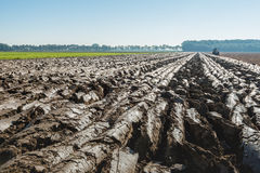 Converging furrows in partially plowed clay soil. In the background a tractor with attached plow is plowing back and forth in the clay soil after the harvest of Royalty Free Stock Photos