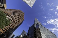 Converging to touch the sky. Tall buildings shot from the ground with wide angle lens showing their height and converging together Stock Images