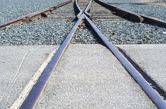 Converging Tracks. A wye (or Y shaped) switch near a train station Stock Images