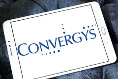 Convergys Corporation logo. Logo of Convergys Corporation on samsung tablet. Convergys Corporation is a corporation , that sells customer management and Royalty Free Stock Image